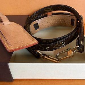 💯% AUTH Louis Vuitton Monogram Strap Luggage Tag